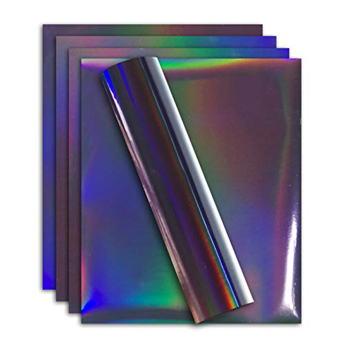 Holographic Stretchable Metallic Heat Transfer Vinyl Iridescent Purple Foil, Iron On HTV Bundle for DIY Your Own Clothes, 12x10 Inch, Pack of 5 Sheets, Eco-Friendly
