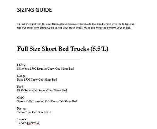 Rightline Gear 110750 Full-Size Short Truck Bed Tent 5.5'