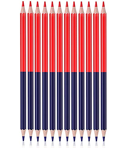 Ncheli 12 pcs lápices bicolores,lápices Azul y Rojo Lápiz de color Set lápices de Carpintero Redondos de Alambre Azul y Rojo para carpintería Marcador de núcleo lápiz de Carpintero Rojo y Azul