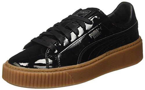 Puma Basket Platform Patent, Zapatillas Mujer, Negro (Black-Silver), 39 EU