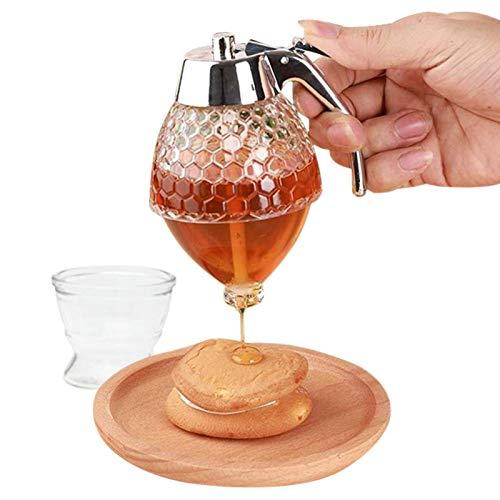 MOVKZACV Distributeur de miel avec support de rangement, distributeur de sirop en acrylique, bouteille à presser pour jus et abeilles