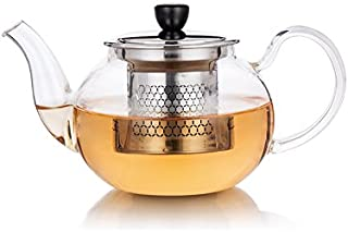 Ultimate Kitchen™ Glass Teapot - 500 ml (17 oz) Stove Top Safe Glass Tea Kettle with Stainless Steel Loose Tea Infuser Filter