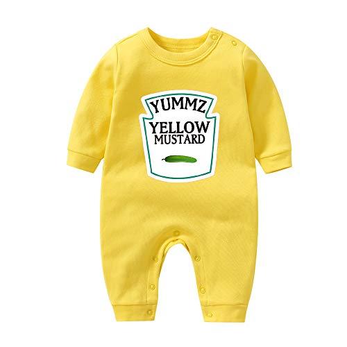 YSCULBUTOL Baby Ketchup Mustard Newborn Tomato Outfit BabyTwins Bodysuit Foodie Gift Set (White2, 7-9 Months)