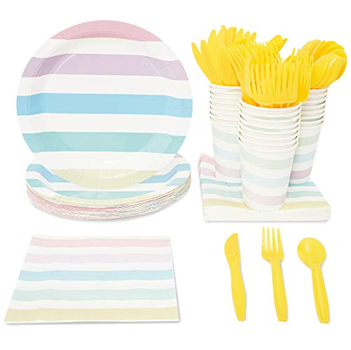 Rainbow Party Supplies, Paper Plates, Napkins, Cups and Plastic Cutlery (Serves 24, 144 Pieces)