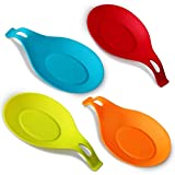 iNeibo Kitchen Silicone Spoon Rest, Flexible Silicone Kitchen Utensil Rest Ladle Spoon Holder for Stove Top – for Cooking Spatula, Ladle, Brush, Risotto(Colorful Small)
