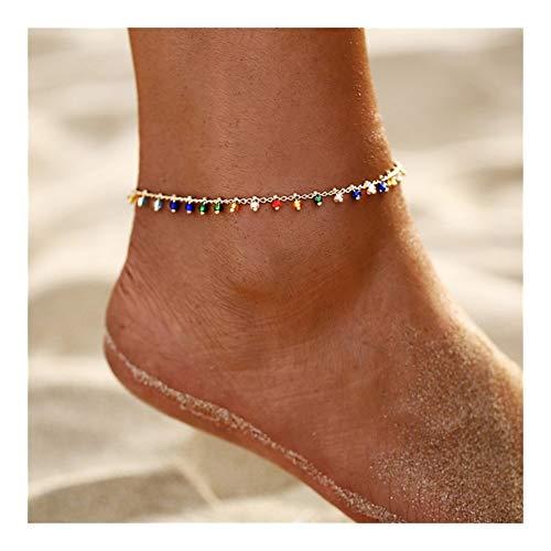LKSPD Qxdzswb Señoras Coloridas de la joyería en Oro for el Tobillo de Verano la Playa del océano Pulsera de Tobillo del pie de la Pierna Pulsera de Encaje (Color : Colorful Beads)
