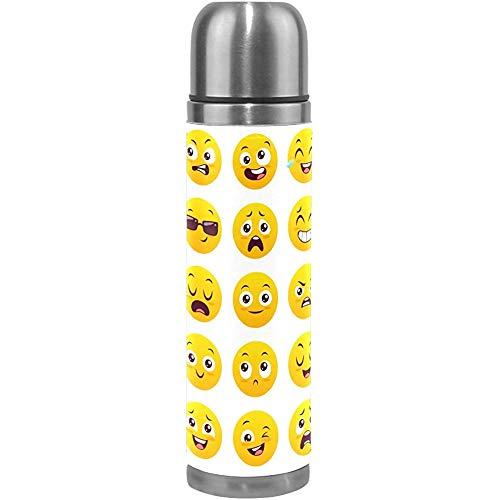 Like-like Thermos Botella de Agua Emoji Prueba de Fugas de Acero Inoxidable Doble Pared con Aislamiento al vacío Frasco Cubierta de Cuero Genuino para Bebidas