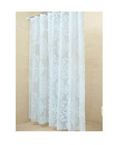 MaxAst Weiß Blume Duschvorhang Anti Schimmel, Peva Badewanne Vorhang 150x180CM, Antibakteriell Wasserdicht mit Ringe