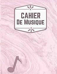 cahier de musique rose: Carnet de partitions - Papier manuscrit - Avec portées- 110 pages - Grand format - Couverture moderne. (French Edition)