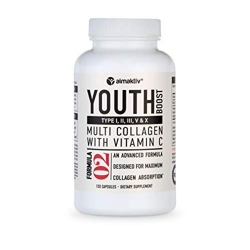 Multi Collagen Pills (Types 1,2,3,5&10) - Collagen Peptides + Vitamin C - Collagen Protein Blend Enhanced by Patented TendoGuard for Anti-Aging, Hair, Skin, Nails and Joints (120 Collagen Capsules)