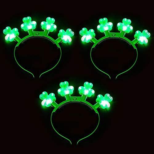 3 Pcs St Patrick s Day LED Light Up Shamrock Headbands Iris Green Clover Headwear Glow in the product image