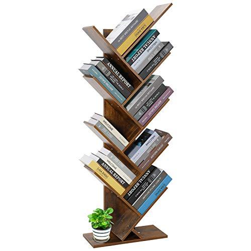 Libreria a 8 livelli, stile vintage, in legno, divisorio per stanze, a forma di albero,...
