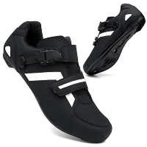 KUXUAN Zapatillas de Ciclismo Zapatillas de Bicicleta de Carretera para Hombre y Mujer con Zapatillas de pelotón de Cala para Montar en Bicicleta con Aspecto SPD compatibles,Black-40EU
