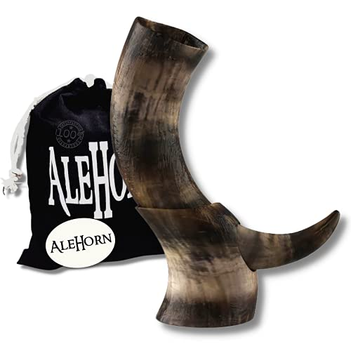 AleHorn Drinking Horn - 12' Curved Style Drinking Horn with Stand - Viking Beer Cup with Natural Finish for Ale & Mead - Handcrafted Viking Horn Beer Stein - Authentic Holiday Gift