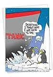 NobleWorks, Titanic Bump - Funny Belated Happy Birthday Card - Cute Penguins Cartoon, Forgot Birthday Notecard C7263BEG