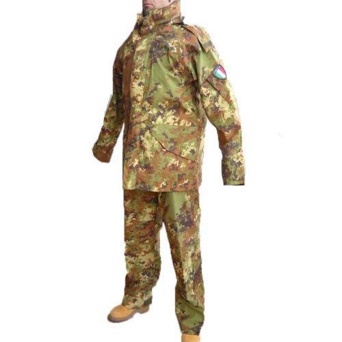 Fratelliditalia Parka Completo Pantalone Salopette Militare vegetato Goretex Impermeabile