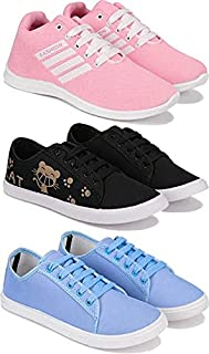 Shoefly Women's (5002-5052-5054) Multicolor Casual Sports Running (Set of 3 Pair)