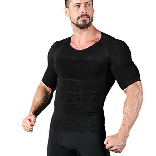 NOVECASA Camisetas de Compresión Hombre Modelado del Cuerpo Elástico Secado Rápido para Adelgaza Fitness (XL(Cintura 97-107CM), Negro)