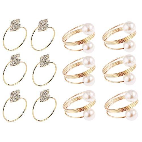 Tangger Serviettenringe Gold 12 stück Set Metal Sserviettenringe Perlen Gold Serviettenhalter Ringe für Hochzeit Geburtstag Weihnachten Taufe Tisch Dekoration,2 Arten