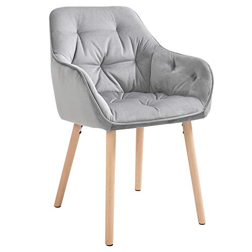 HOMCOM Modern Tufted Dining Chairs Velvet-Touch Fabric Upholstered Leisure Chairs with Wood Legs, Light Grey