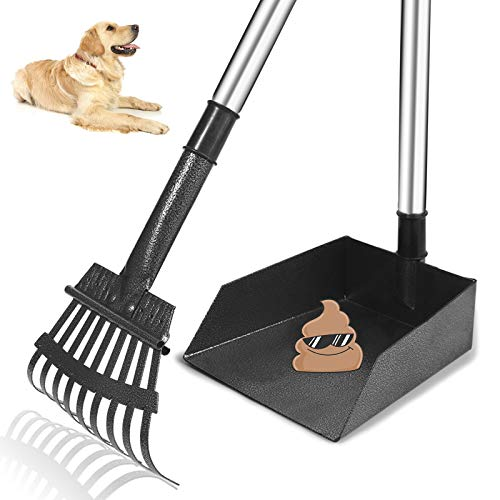 TNELTUEB Hundekotschaufel, Metall-Kot-Tablett und Rechen mit langem Edelstahlgriff, bester Mülleimer mit Rechen für große Hunde