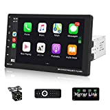 Car Stereo Compatible with Voice Control Apple Carplay, Android Auto Single Din 9' Touchscreen Bluetooth Car Radio Mirror Link, Backup Camera, FM Radio, Steering Wheel Controls, AUX In/USB/SD/A/V Port