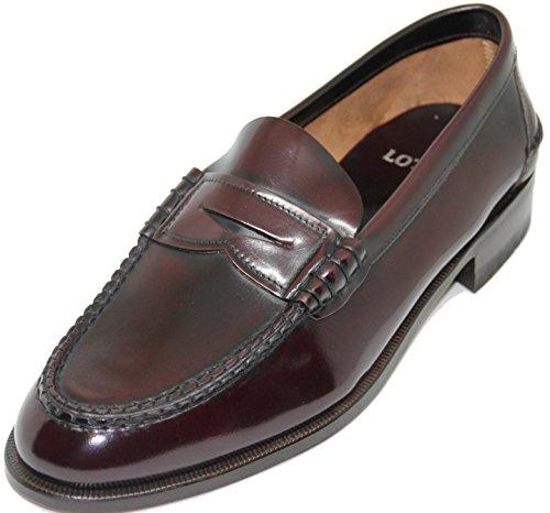 LOTTUSSE 57.Zapato mocasín con Antifaz;Piel de máxima Calidad,Color Burdeos