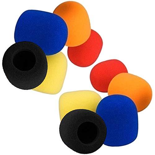 MINGZE 10pcs parabrisas de micrófono, paravientos de micrófono de etapa de mano, pantalla de viento Mike, pantalla de micrófono de cubierta de espuma de color adecuado para todos los micrófonos de bol