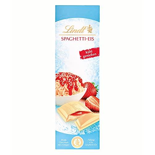 Lindt & Sprüngli Spaghetti Eis Sommertafel, weiße Schokolade gefüllt mit einer cremig-zarten Füllung aus Erdbeere und Milchcrème, 100 g