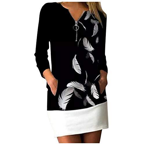 URIBAKY - Vestido de mujer con costuras con cremallera y estampado, cómodo de manga larga y cuello en V Negro L