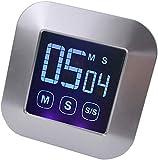 Nfudishpu Minuteur de Cuisine à écran Tactile, 0 à 99 Minutes, Compte à rebours magnétique, Grand écran LCD, Alarme puissante, Lecture Facile pour la Cuisine et Le Sport