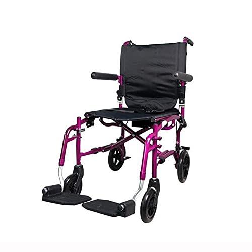 AWJ sillas de Ruedas Sábana doblada para Silla de Ruedas, luz de Freno Manual, apoyabrazos de Llantas sólidas, Pedales Desmontables, un apoyabrazos de Viaje portátil sillas de Ruedas plegab