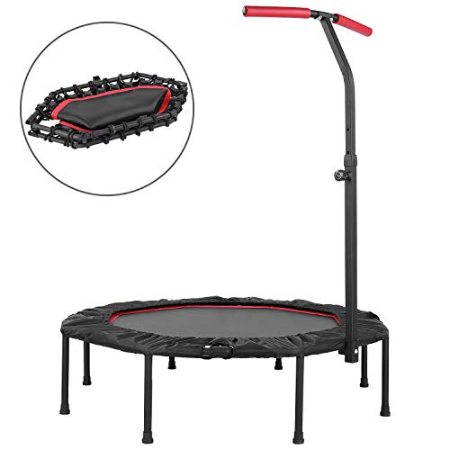 """GARTIO 50"""" Exercise Trampoline Rebounder, Portable & Foldable Silent Bungee Jumping Equipment with Adjustable Handrail Bar and Safety Pad, Fitness Training Workouts for Kids Adults, Max Load 450lbs"""