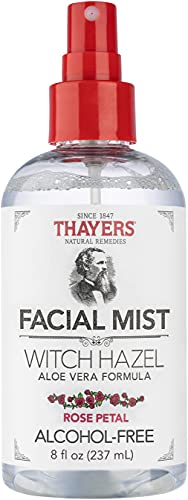 THAYERS, AlcoholFree Witch Hazel Facial Mist Toner Clear, Rose Petal, 8 Fl Oz
