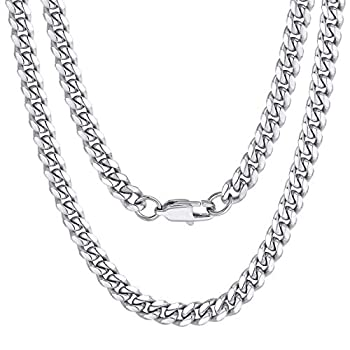 Stainless Steel Cuban Chain Necklace 20inch 6MM Men Link Curb Chain Boys Gifts