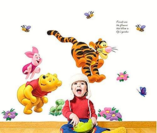 Aolevia 1pc Sticker Mural Naturel Winnie L'ourson Joue Dans Le Jardin Stickers Pour Enfant Autocollant Mur Stickers Decoration de Salle Taille45*65 cm