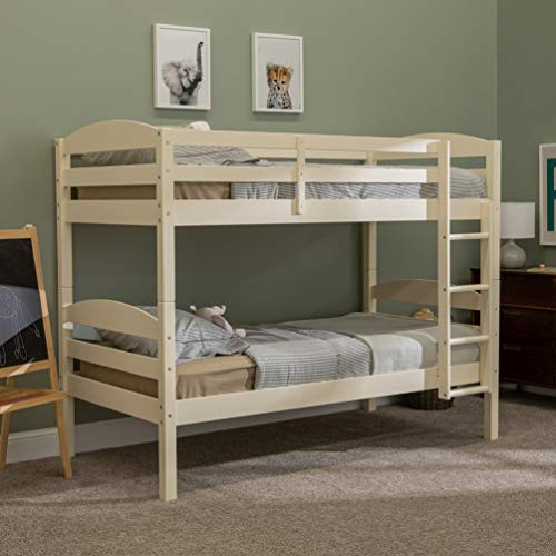 Walker Edison Della Classic Solid Wood Twin over Twin Bunk Bed, Twin over Twin, White