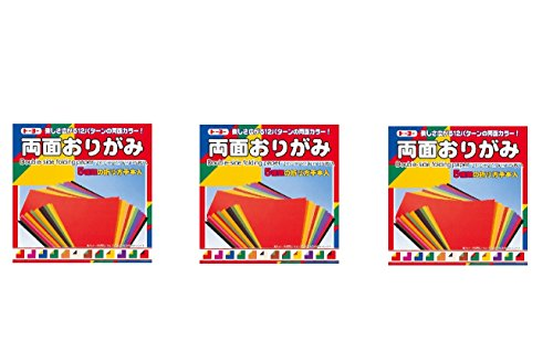 Toyo 3 pack set 12 colors,105 pcs Double side folding paper Origami 24cm 004016 from Japan