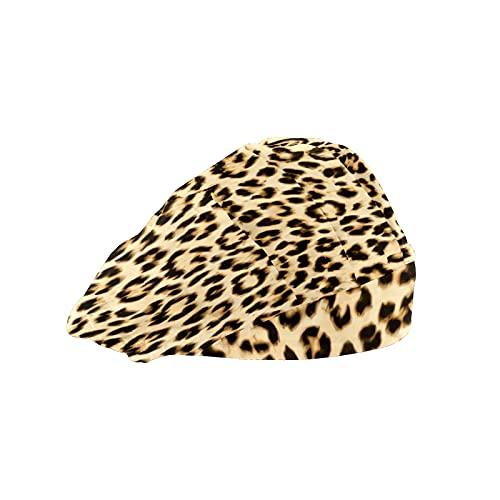 Damen Kappe für langes Haar Arbeitsmütze mit Schweißband Elastische Verstellbare Arbeitskappen für Männer Arbeiten Kopftuch 3D Gedruckt Hüte Leopard Tier Haut