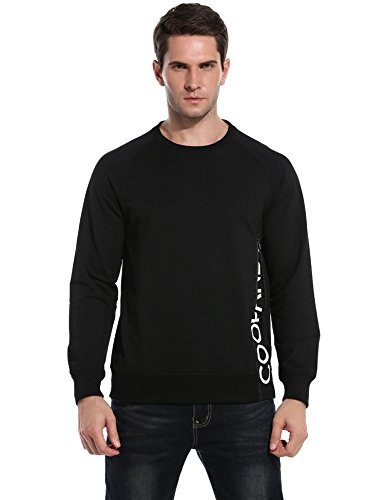 Coofandy Men's Side Zip Pullover Casual Crewneck Sweatshirt,Black,Medium
