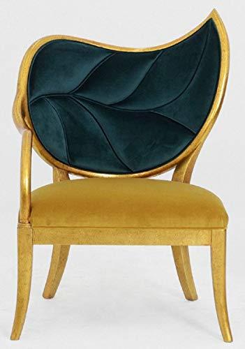 Casa Padrino sillón Art Deco de Lujo Verde Oscuro/Oro/Oro Antiguo - Sillón de Madera Maciza Hecho a Mano con Tela de Terciopelo Fino - Muebles de Sala Art Deco