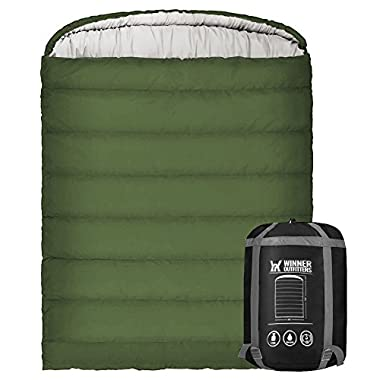 Winner Double Sleeping Bag Compression Sack,Mummy Hood Zipper It's Portable Lightweight 3-4 Season Camping, Hiking, Traveling, Backpacking Outdoor Activities(Bottle Green)