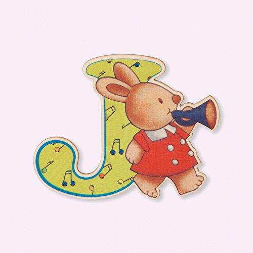 Dida - Lettre J Bois Enfant - Lettres Alphabet Bois pour Composer Le nom de Votre bébé et décorer la Chambre