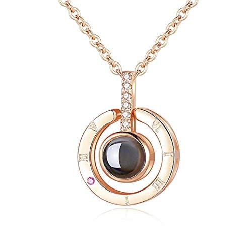 QueenDer Collana Clavicle Love Memory Zircon Projection Corona a forma di cuore Camera Four Clover Collana per donne Ragazze (Collana rotonda)