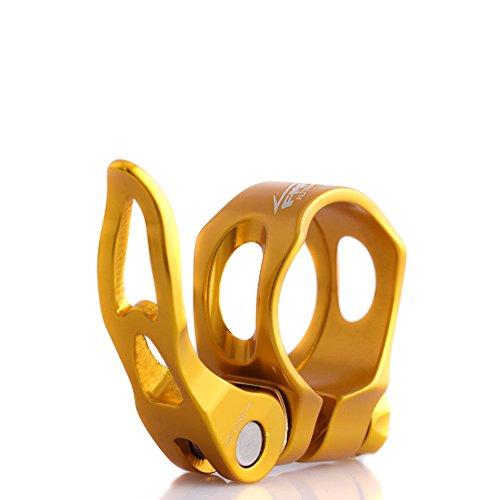 Upanbike Fahrradsattelstützen-Klemme aus Aluminiumlegierung, hohler Schnellspanner, 31,8mm, 34,9mm, runder Clip, gold, 31,8 mm