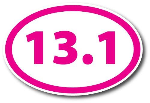 131 Half Marathon Pink Oval Car Magnet Decal Heavy Duty Waterproof