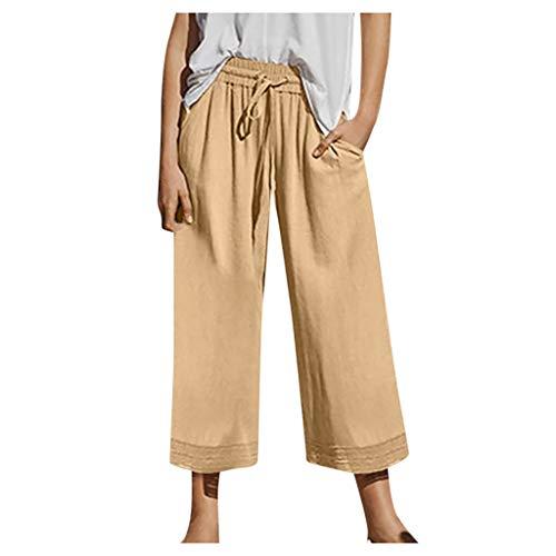 QIMANZI Freizeithosen Damen Beiläufig Einfache Farbe Nähen Spitze Übergröße Breitbeinig Hose Casual Pants Hosen(Gelb,3XL)