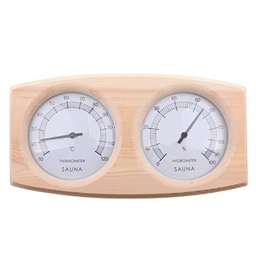 Yudanny Sauna Thermomètre 2-En-1 Sauna Hygrothermographe Double Cadran en Bois Thermomètre Hygromètre pour Sauna