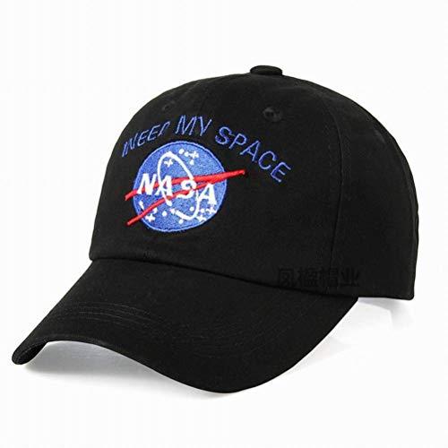 CWH-hat NASA Bestickte Baseballmütze Astronaut Cap Duck Tongue Lässige Hip Hop-Kappe, Schwarz, einstellbar