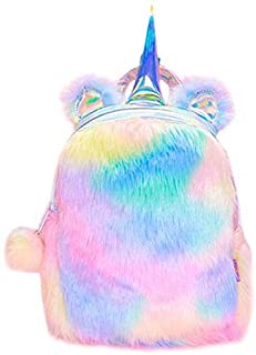Plush Unicorn Backpack Velvet Soft Rainbow 3D Backbag Toddler Kids Girls Gifts